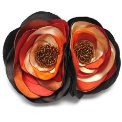 broszka,satyna,kwiaty,brąz,romantyczna - Broszki - Biżuteria