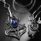 Naszyjniki srebrny,naszyjnik,wire-wrapping,kianit,ciba,kyanit