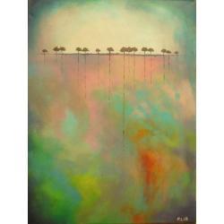 drzewa,turkus,zółty,abstrakcja,róż,czerwień, - Obrazy - Wyposażenie wnętrz
