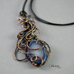 naszyjnik,wisior,agat,plaster agatu,miedź,wire - Naszyjniki - Biżuteria