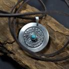 Naszyjniki srebrna mandala,mandala z turkusem