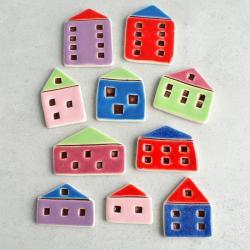 domki,magnesy,kolorowe - Magnesy na lodówkę - Wyposażenie wnętrz