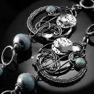 Kolczyki srebrne,kolczyki,wire-wrapping,orzeł,larimar,ciba