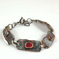 skórzana bransoleta z szafirami - Bransoletki - Biżuteria