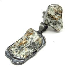 srebrny,blask,pierścięń,kosmos,szarości,blask,styl - Komplety - Biżuteria