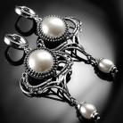 Kolczyki srebrne,kolczyki,wire-wrapping,perły,ciba,perłowe