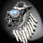 Broszki srebrna,broszka,wire-wrapping,ptak,perły,opal