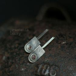 turmalin,surowe,srebro,oksydowane - Kolczyki - Biżuteria