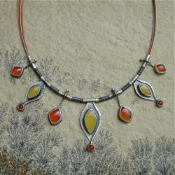 pomarańczowy,barwy lata,Rivendell - Naszyjniki - Biżuteria
