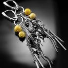 Kolczyki srebrne,kolczyki,wire-wrapping,ciba,bursztyn