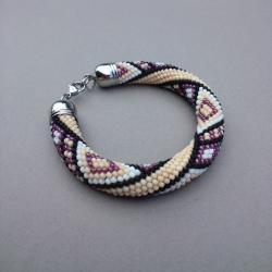 bead crochet,bransoletka,szydełkowa,etniczna - Bransoletki - Biżuteria