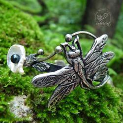 srebrna,oksydowana,bangla,ważka,srebrne liście,per - Bransoletki - Biżuteria