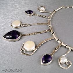 Naszyjnik z ametystami i perłami - Naszyjniki - Biżuteria