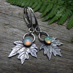 srebrne liście,oksydowane,opal,organiczne,natura - Kolczyki - Biżuteria