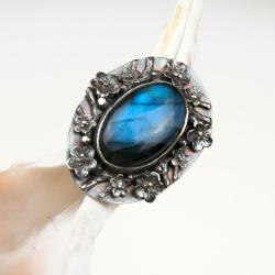 pierścionek,srebrny,zlabradorytem - Pierścionki - Biżuteria