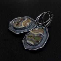 agaty,długie,jesienne,srebrne,minerał,mozaika - Kolczyki - Biżuteria
