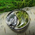 Naszyjniki srebrny,yin yang,srebrny liść,zen
