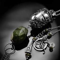 srebrny,naszyjnik,wire-wrapping,zielony,turmalin - Naszyjniki - Biżuteria
