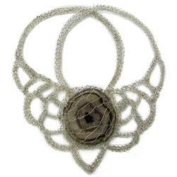 naszyjnik,elegancki,srebro,agat,szydełko - Naszyjniki - Biżuteria