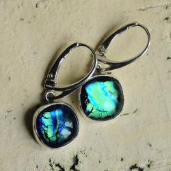 kolczyki,srebro,minimalizm,szkło dichroik - Kolczyki - Biżuteria