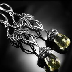 srebrne,kolczyki,wire-wrapping,kwarc lemon,ciba - Kolczyki - Biżuteria