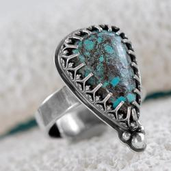 azuryt,z azurytem,pierscionek,litori,turkusowy - Pierścionki - Biżuteria
