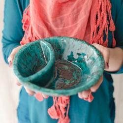 miska,dzielona,ceramika,morska - Ceramika i szkło - Wyposażenie wnętrz