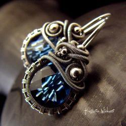 Nehesi,Kolczyki,ze Srebra,bigle,granatowe - Kolczyki - Biżuteria