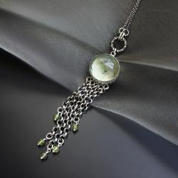 wisior,srebrny,z zielonym ametystem,długi - Wisiory - Biżuteria