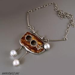 naszyjnik z bursztynu pi pereł - Naszyjniki - Biżuteria