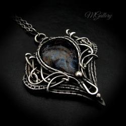 rebrny wisior z pietersitem,wire-wrapping - Wisiory - Biżuteria