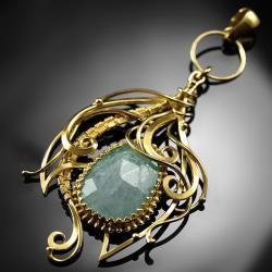 pozłacany,wisiorek,wire-wrapping,akwamaryn,ciba - Wisiory - Biżuteria