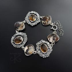 bransoletka,srebrna,z agatem dendrytowym - Bransoletki - Biżuteria