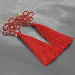 frywolitka,długie kolczyki,chwosty, - Kolczyki - Biżuteria