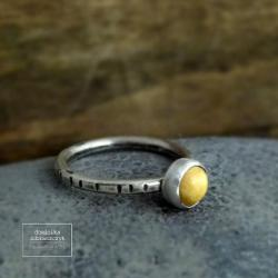srebro,bursztyn,minimalistyczny,klasyczny,oksyda - Pierścionki - Biżuteria