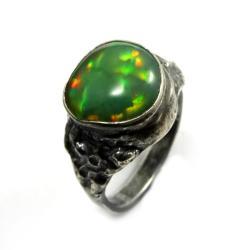 opal,blask,tęczowy,zieleń,tęczowy,unikat,klejnot - Pierścionki - Biżuteria