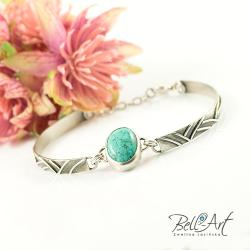 srebrna bransoletka z turkusem,elegancka,kobieca - Bransoletki - Biżuteria
