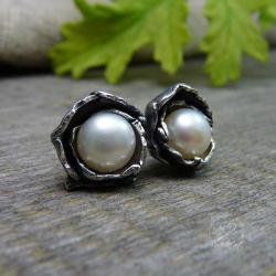 Kolczyki sztyfty z naturalną perłą. - Kolczyki - Biżuteria
