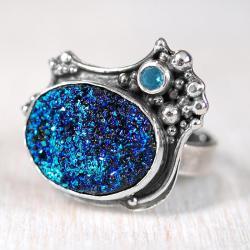 kwarc tytanowy,z kwarcem,srebrny pierścionek - Pierścionki - Biżuteria