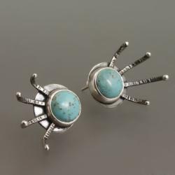 srebrne kolczyki z turkusem - Kolczyki - Biżuteria