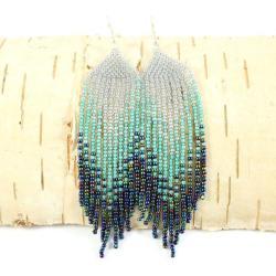 długie,kolczyki indiańskie,koralikowe - Kolczyki - Biżuteria