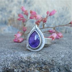 fioletowy kamień,ametyst,pierścionek - Pierścionki - Biżuteria