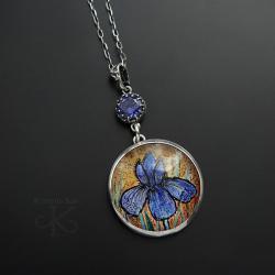 srebrny,wisior,z miniaturą,z kwiatem - Wisiory - Biżuteria