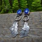 Kolczyki srebrne,sztyfty,wkrętki,niebieskie,dębowy liść