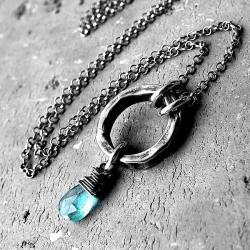 lazurowy,surowy,nowoczesny,rękodzielniczy, - Naszyjniki - Biżuteria
