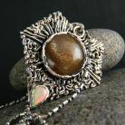 Naszyjniki srebro,kamień księżycowy,opal,naszyjnik