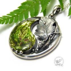 yin yang,żywica,natura,mech,liść - Naszyjniki - Biżuteria