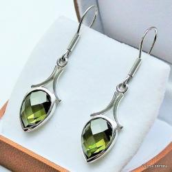 biżuteria srebrna,kolczyki z kamieniami,oliwiny - Kolczyki - Biżuteria