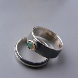 opal,z opalem,obrączki - Pierścionki - Biżuteria