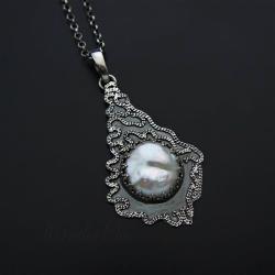 srebrny,naszyjnik,zperłą,delikatny,długi - Wisiory - Biżuteria